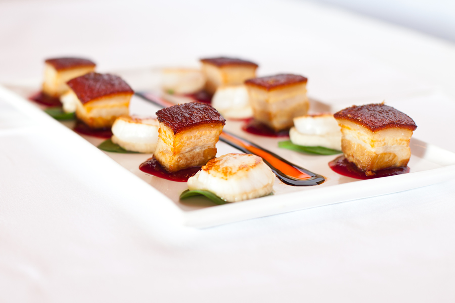 Pork Belly & Scallops with Cauliflower Puree