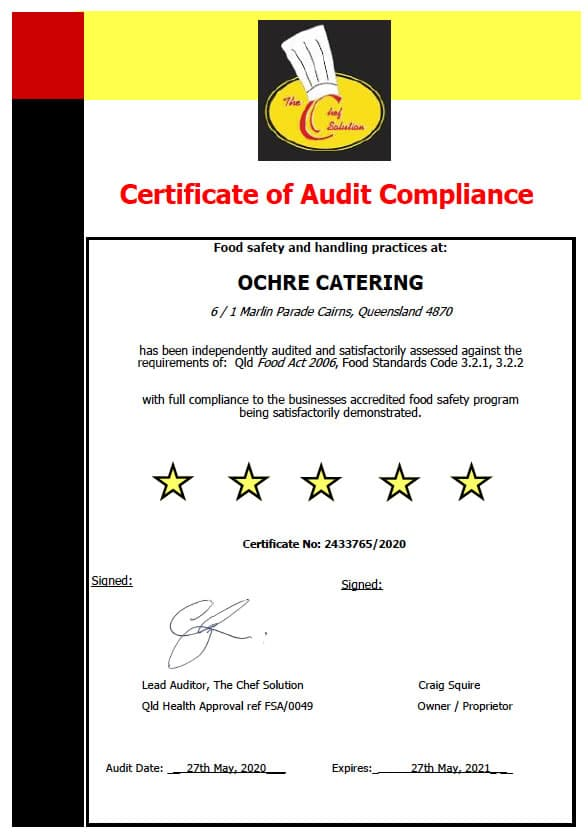 covid compliant caterers cairns accredited food safety program
